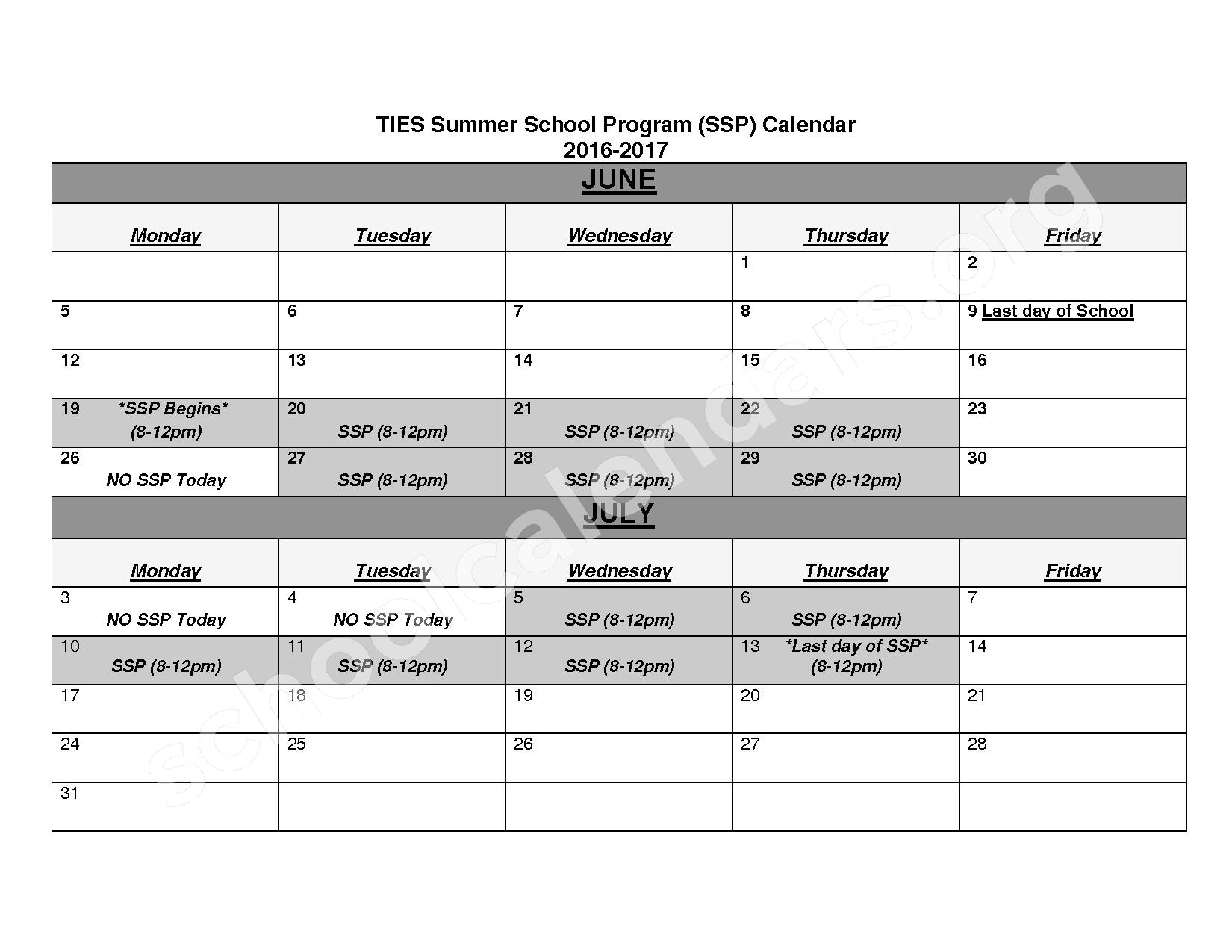 2016 - 2017 School Calendar – Twin Cities International Elem School – page 1