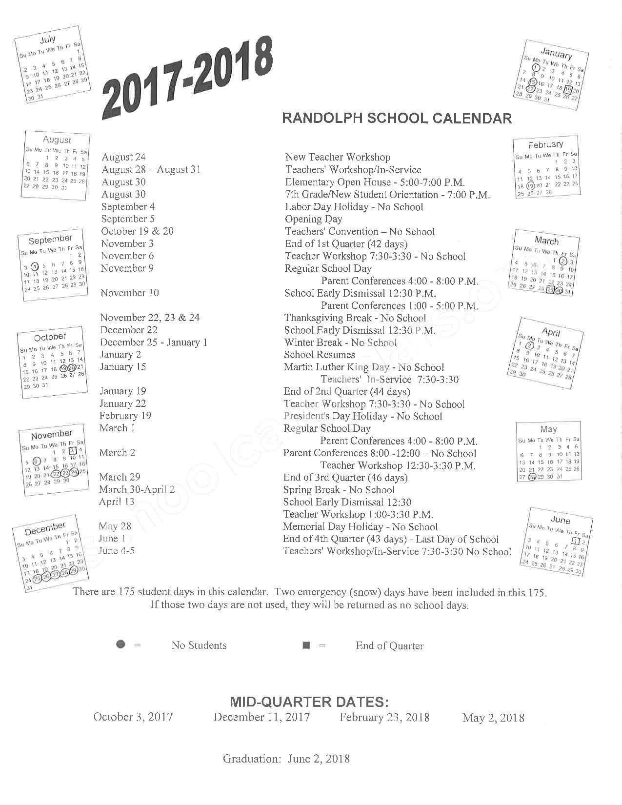 2017 - 2018 School Calendar – Randolph Public School District – page 1