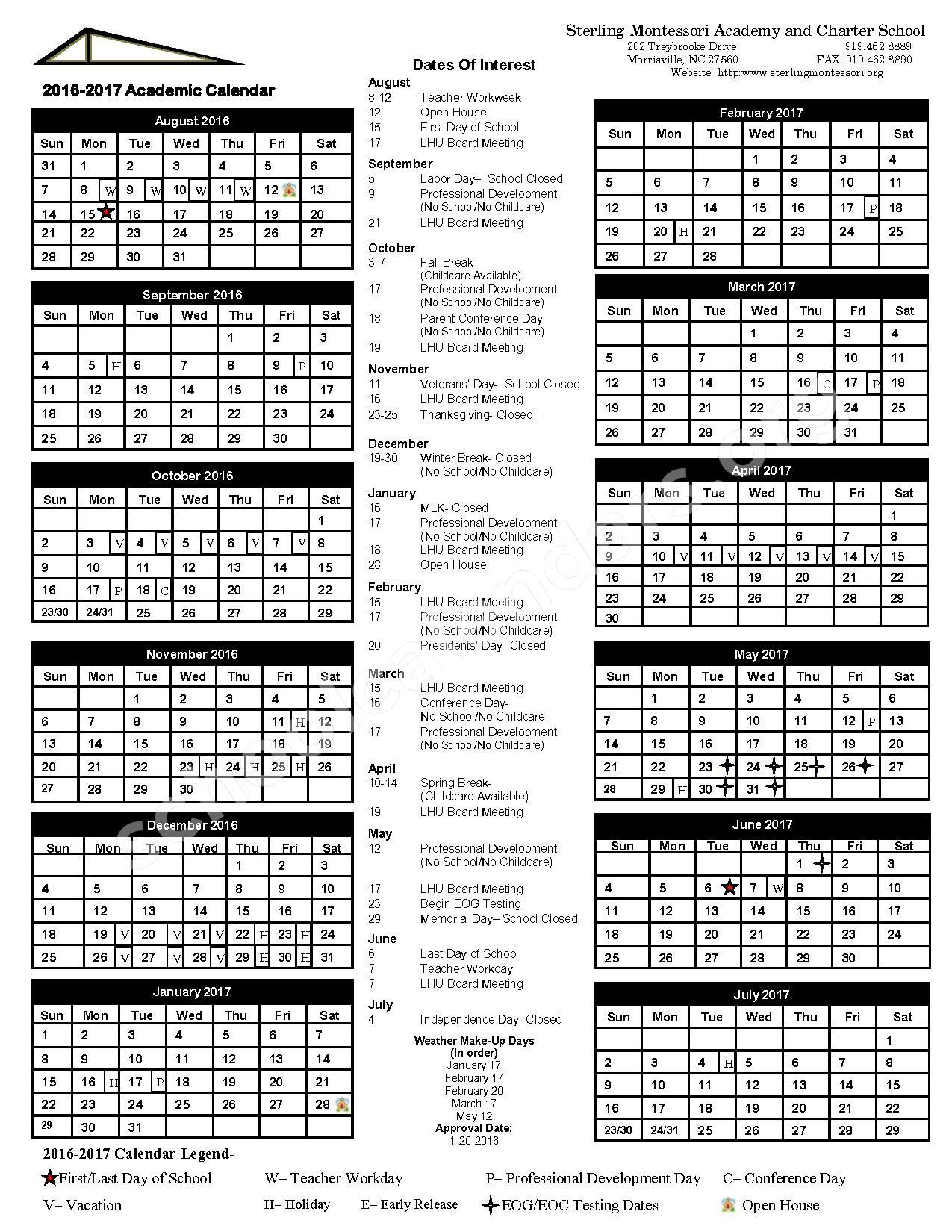 2016 - 2017 School Calendar – Sterling Montessori Academy – page 1