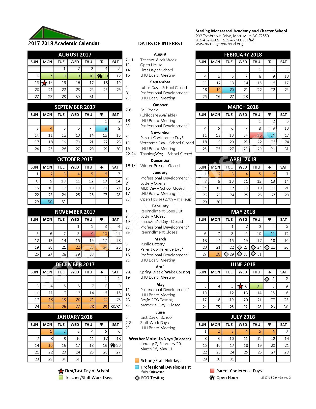 2017 - 2018 Academic Calendar – Sterling Montessori Academy – page 1