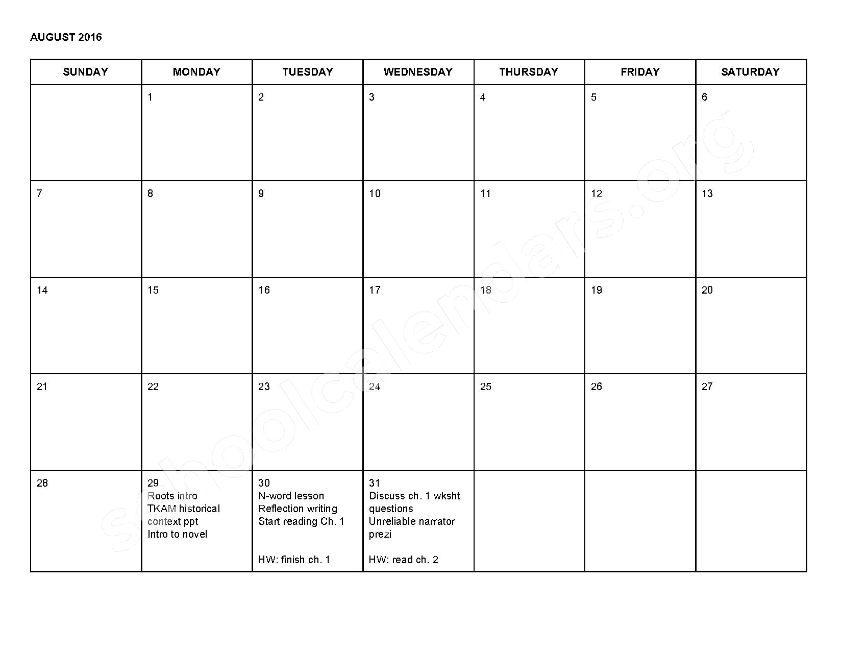 2016 - 2017 School Calendar – Shepherd Public Schools – page 1