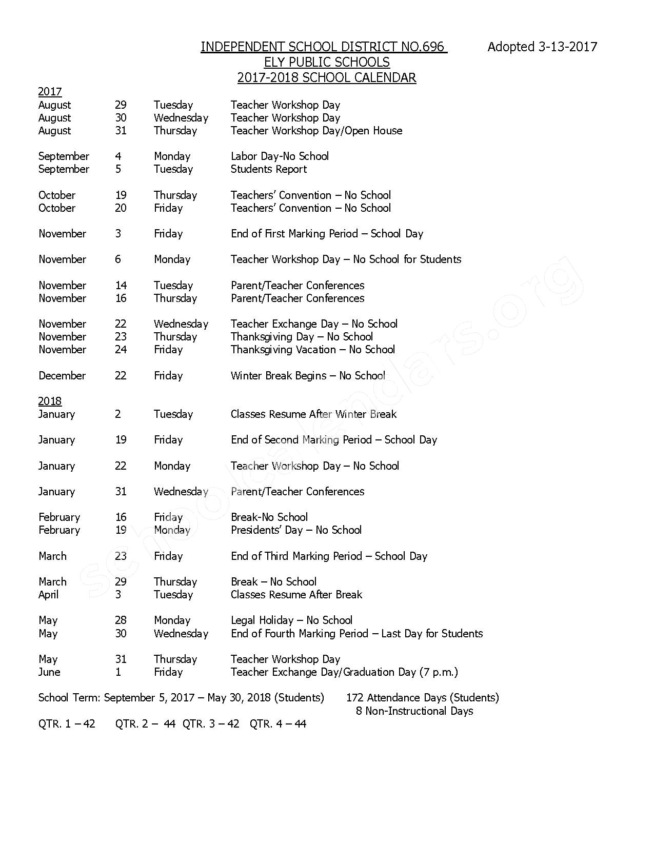 2017 - 2018 District Calendar – Ely Public School District – page 1