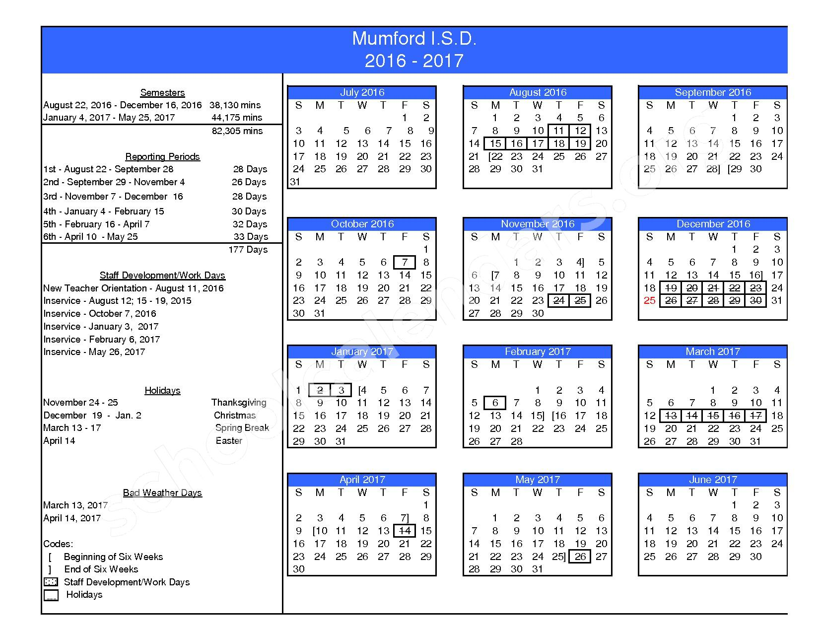 2016 - 2017 School Calendar – Mumford Independent School District – page 1