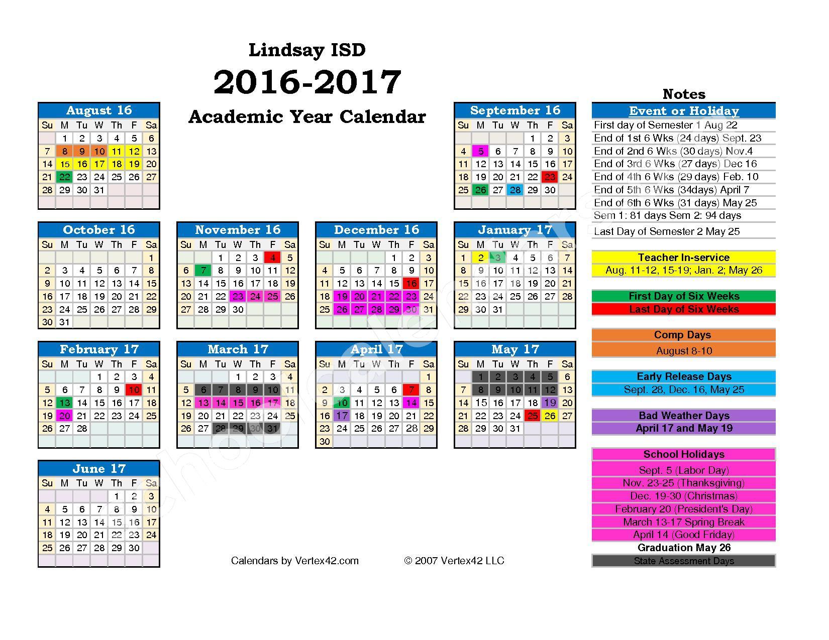 2016 - 2017 School Calendar – Lindsay Independent School District – page 1