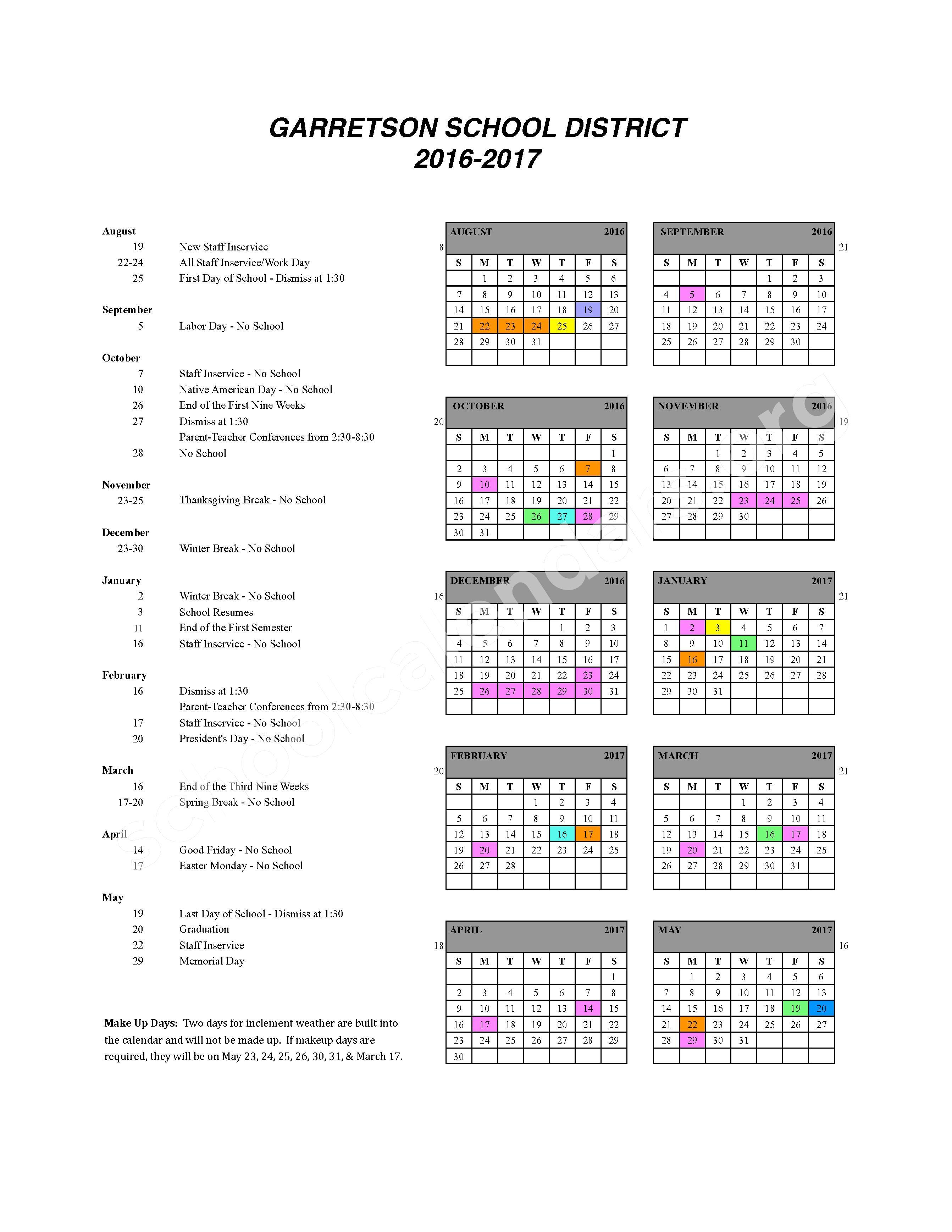 2016 - 2017 School Calendar – Garretson School District 49-4 – page 1