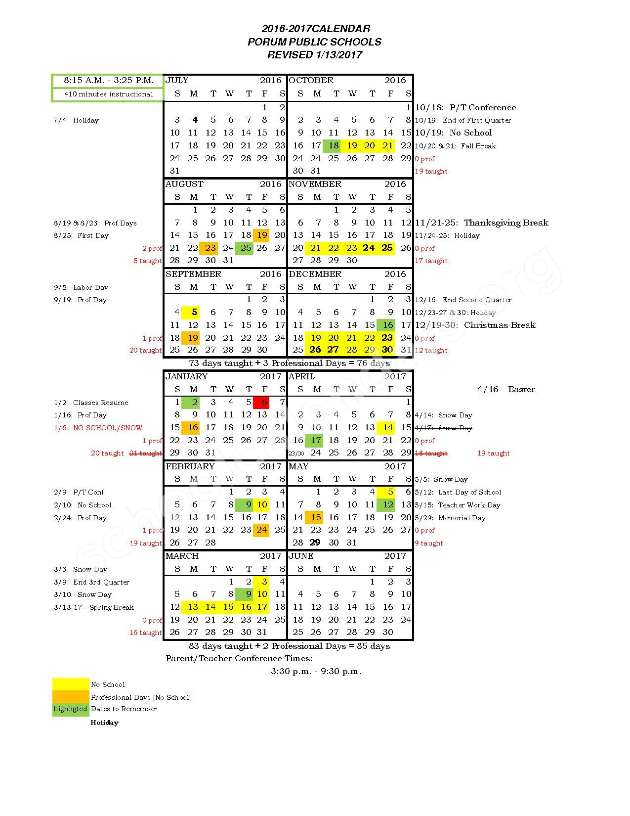 2017 - 2018 District Calendar – Porum Elementary School – page 1
