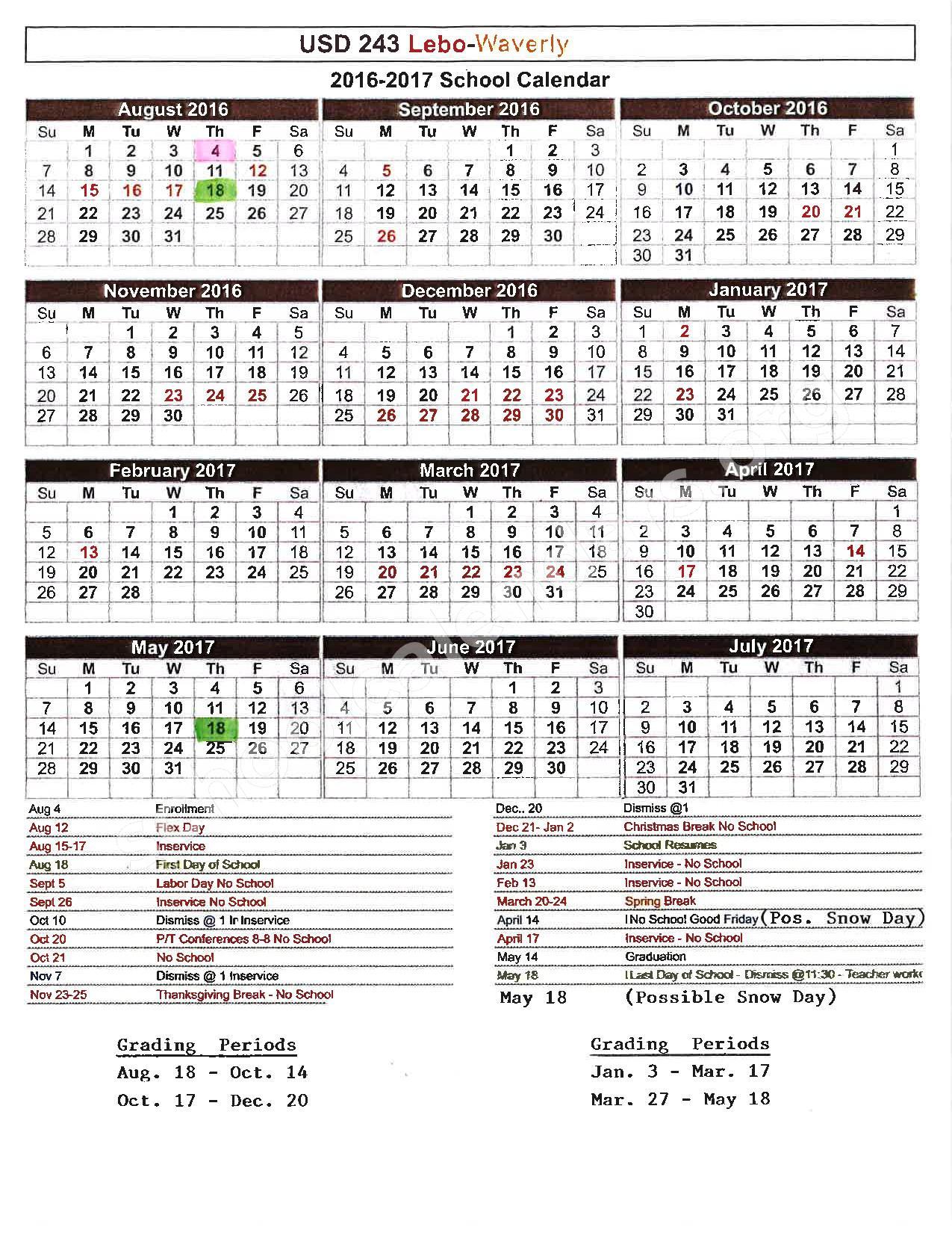2016 - 2017 District Calendar – Lebo High School – page 1