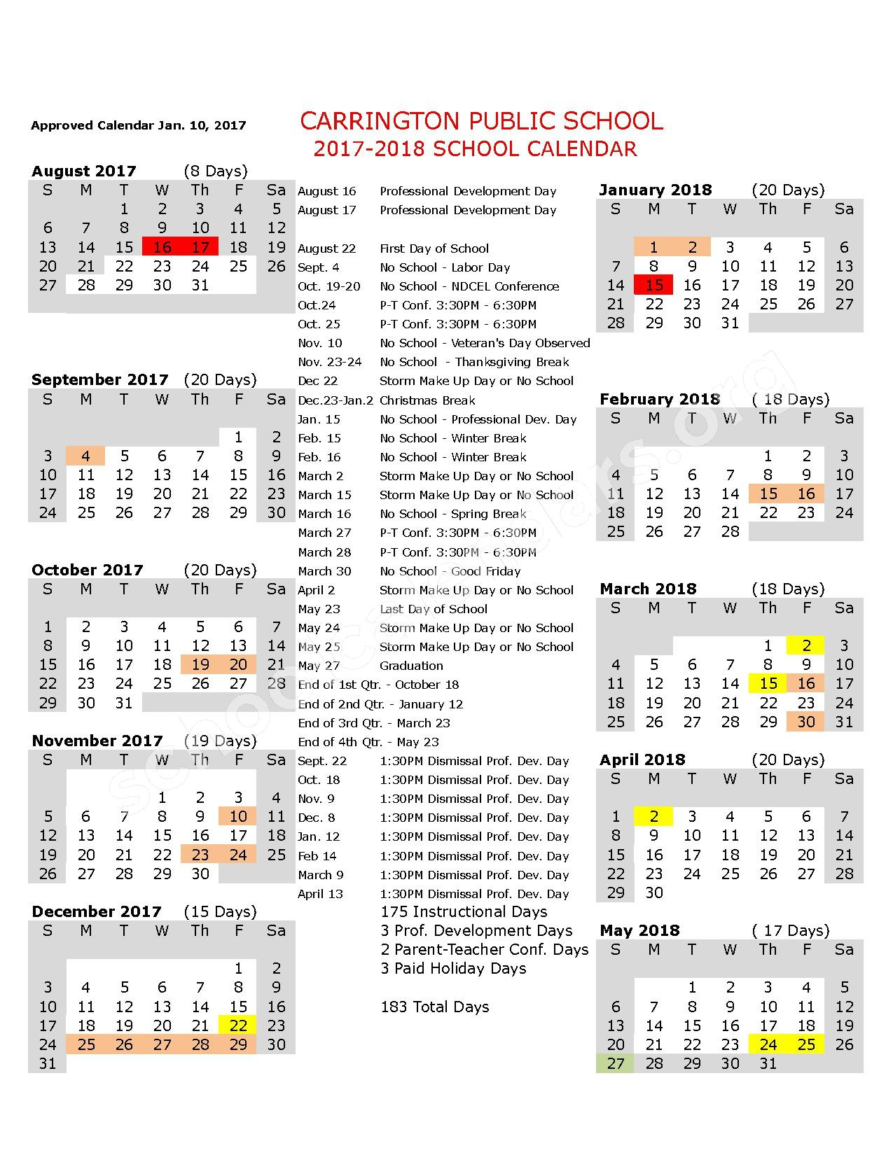 2017 - 2018 School Calendar – Carrington School District – page 1