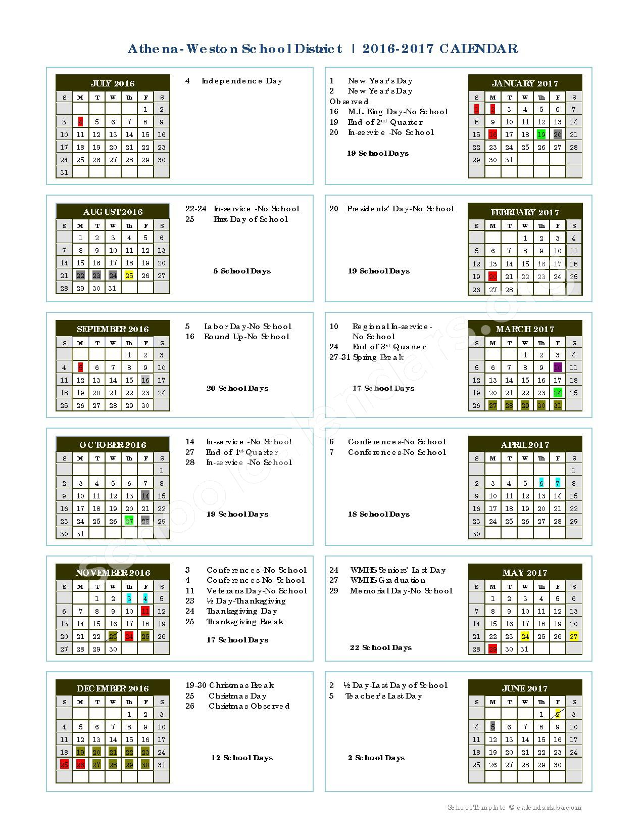 2016 - 2017  District Calendar – Athena-Weston School District – page 1