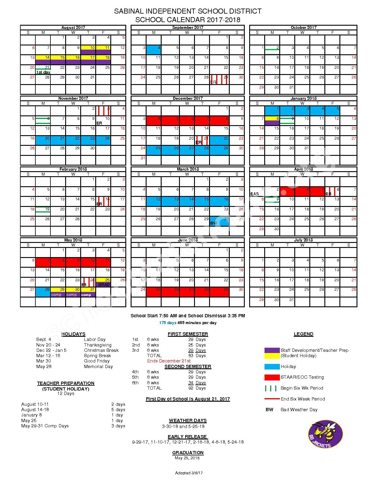 2017 - 2018 School Calendar – Sabinal Independent School District – page 1