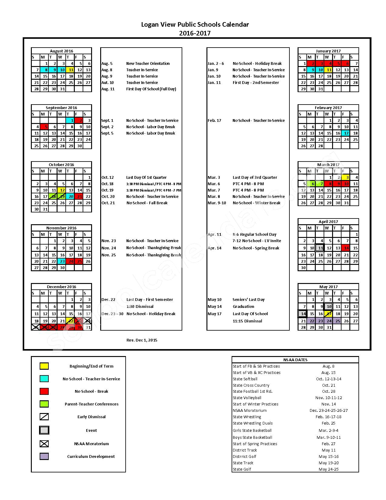 2016 - 2017 School Calendar – Logan View Junior / Senior High School – page 1