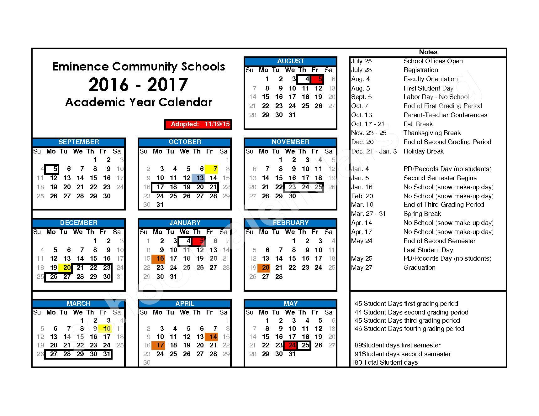 2016 - 2017 District Calendar – Eminence Junior / Senior High School – page 1