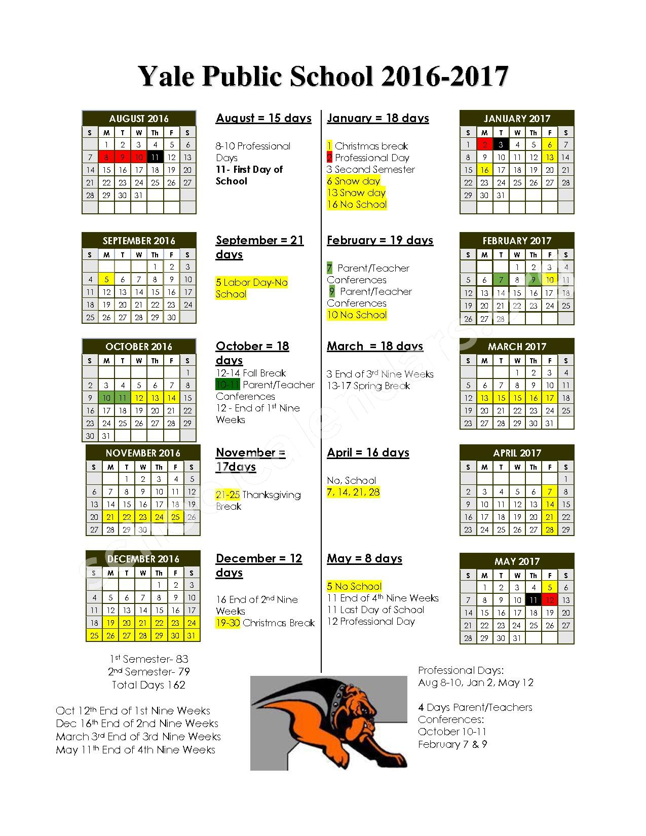 2016 - 2017 District Calendar – Yale Elementary School – page 1