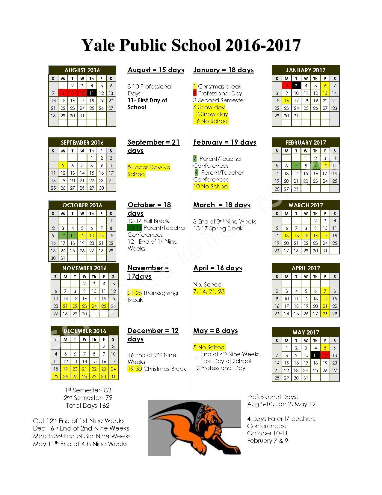 2016 - 2017 District Calendar – Yale Public Schools – page 1