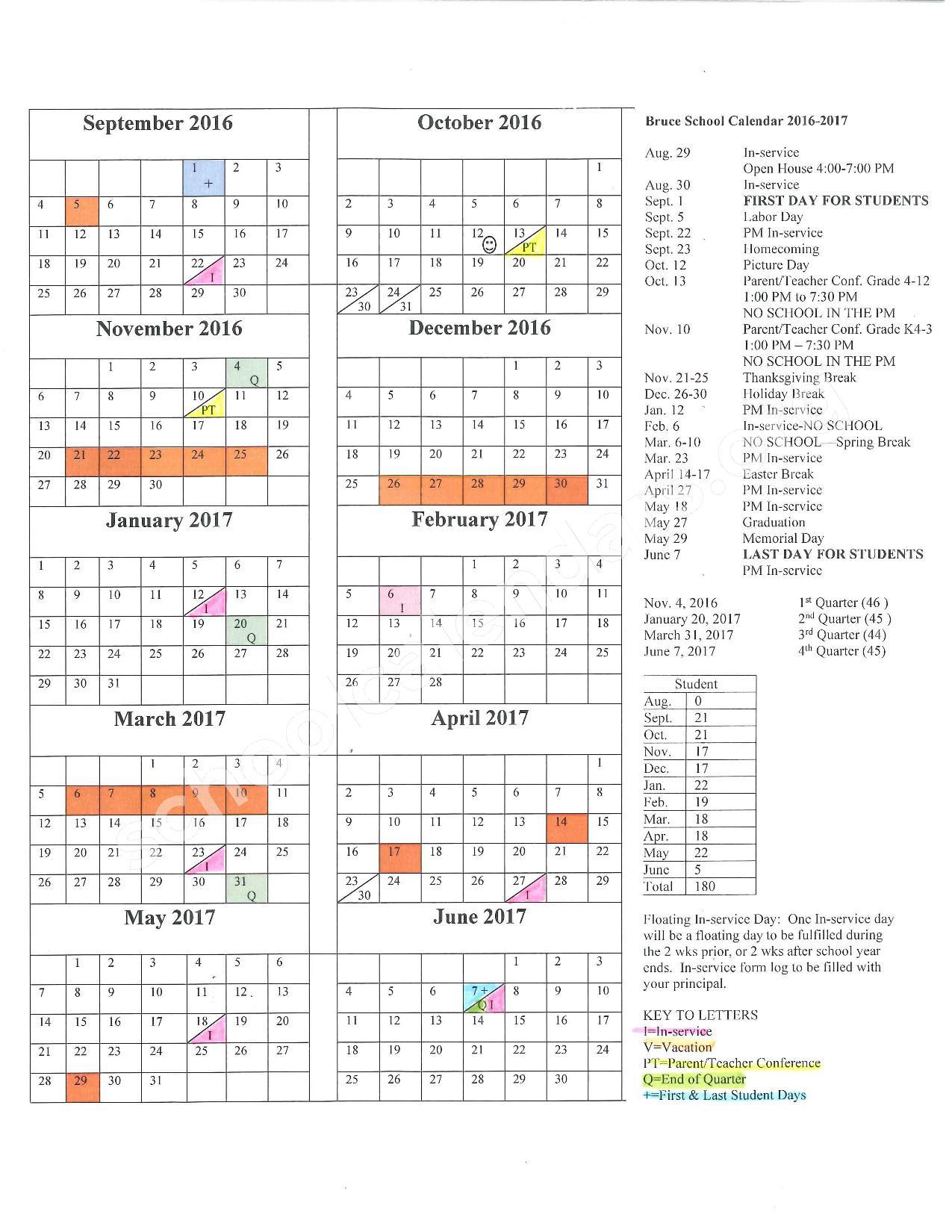2016 - 2017 School Calendar – Bruce School District – page 1