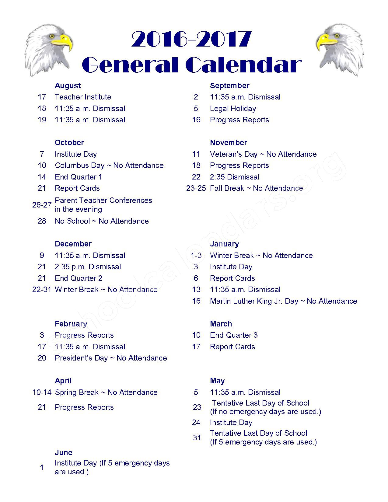 2016 - 2017 school calendar – Paris Cooperative High School 4 – page 1