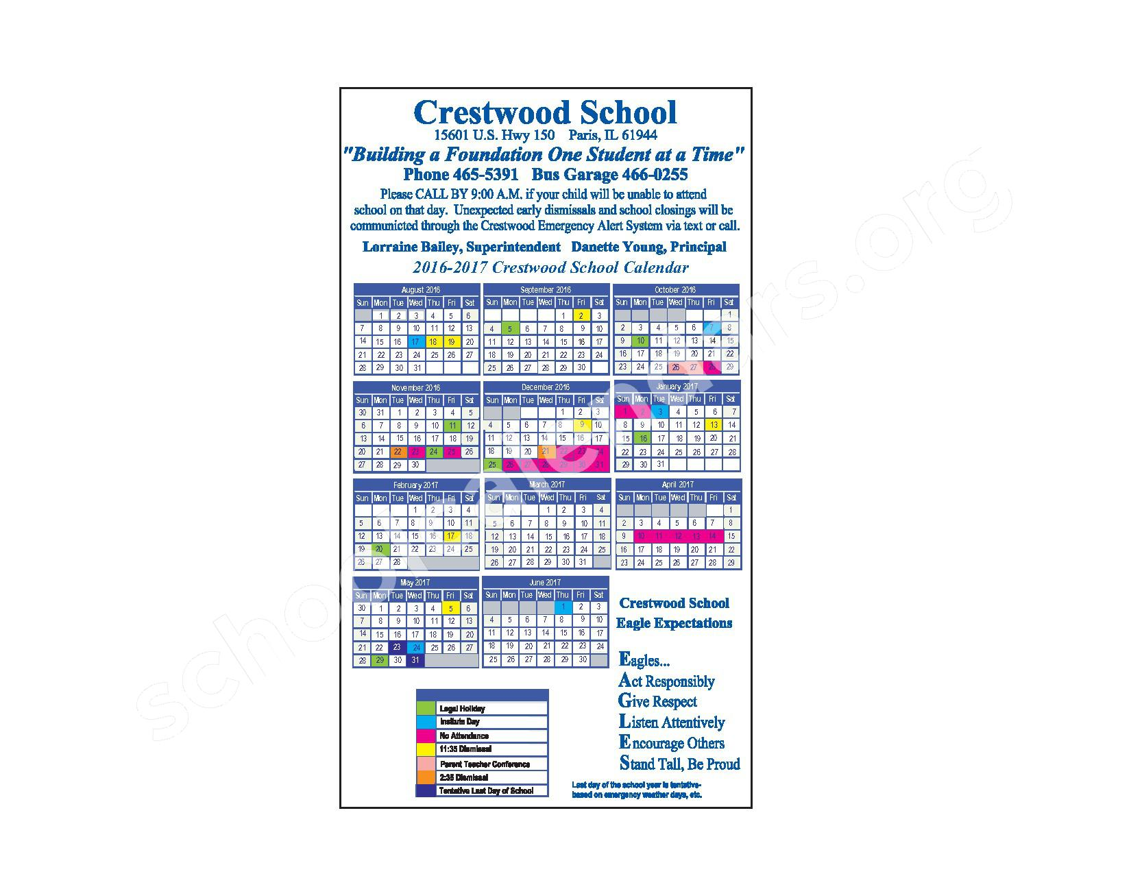 2016 - 2017 Crestwood School Calendar – Paris Cooperative High School 4 – page 1