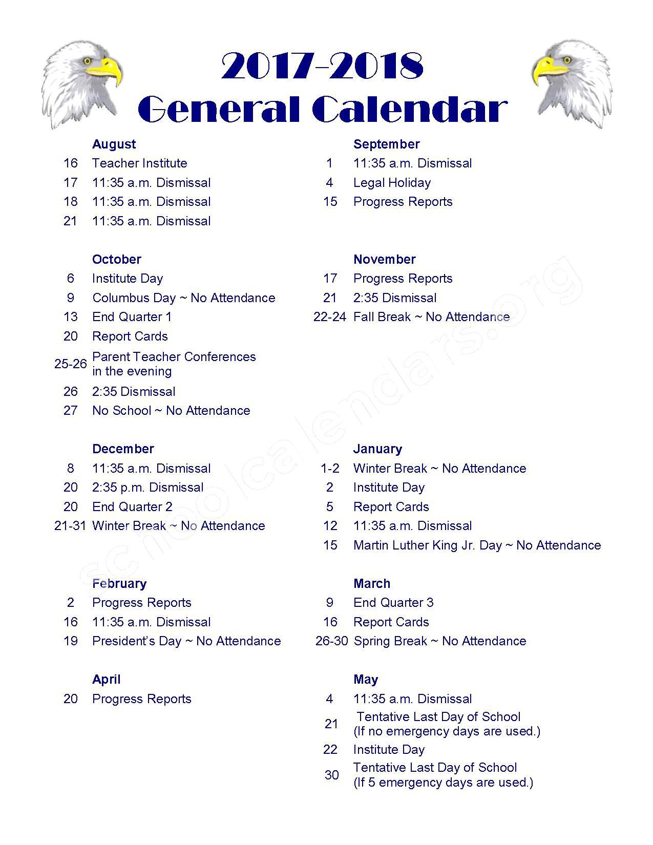 2017 - 2018 School Calendar – Paris Crestwood Community Unit School District 4 – page 1