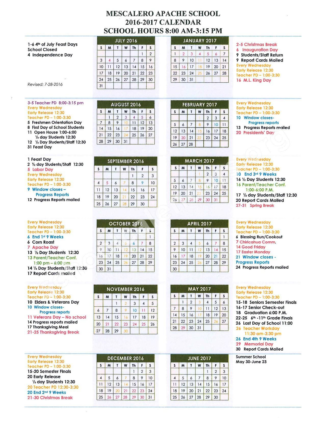2016 - 2017  District Calendar – Mescalero Apache School – page 1