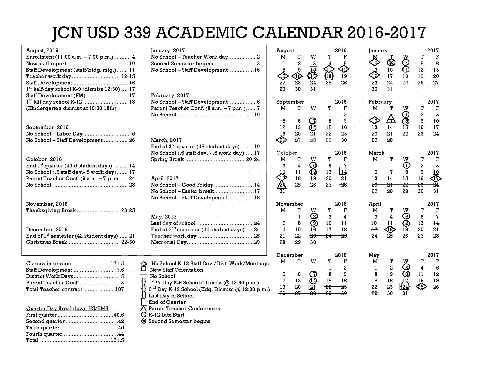 2016 - 2017 District Calendar – Jefferson County North Unified School District 339 – page 1