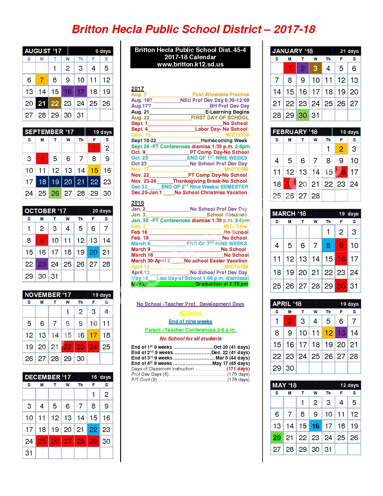 2017 - 2018 District Calendar – Britton-Hecla Junior High - 03 – page 1