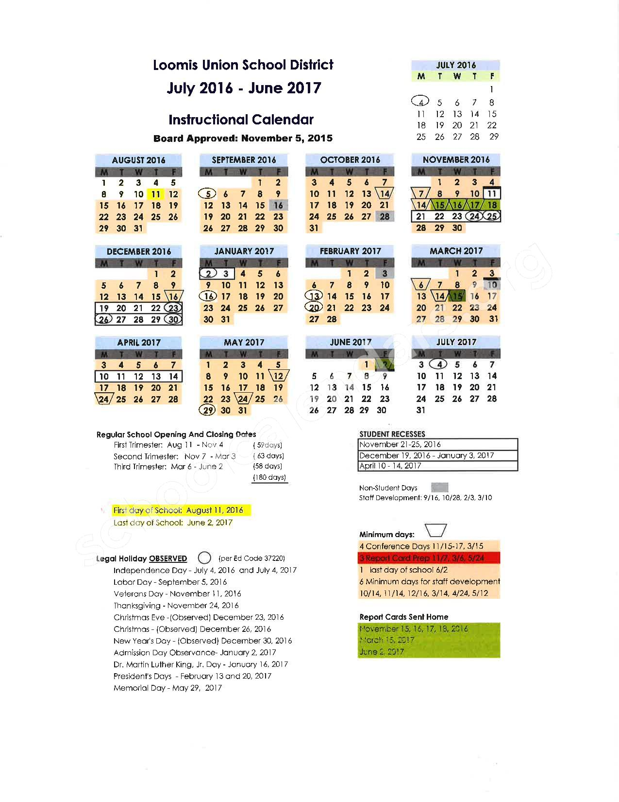 2016 - 2017 School Calendar – Placer County Office of Education – page 10