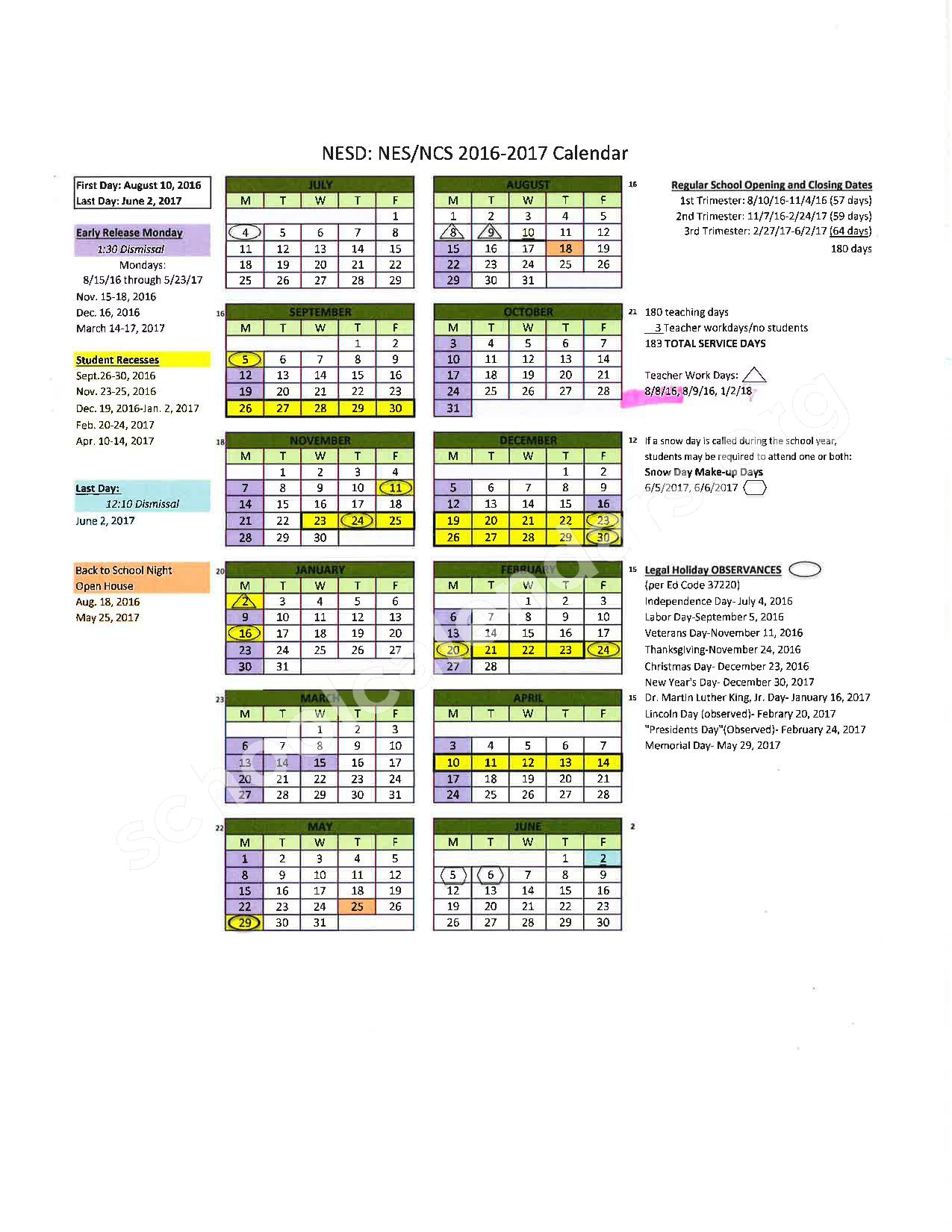 2016 - 2017 School Calendar – Placer County Office of Education – page 11