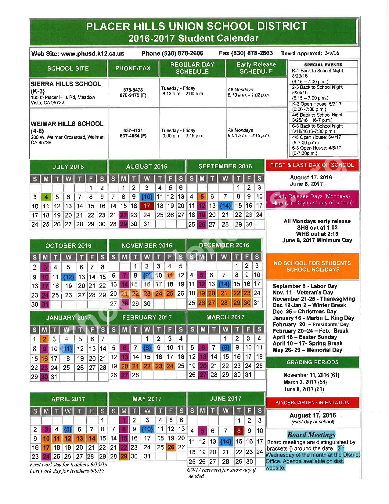 2016 - 2017 School Calendar – Placer County Office of Education – page 12