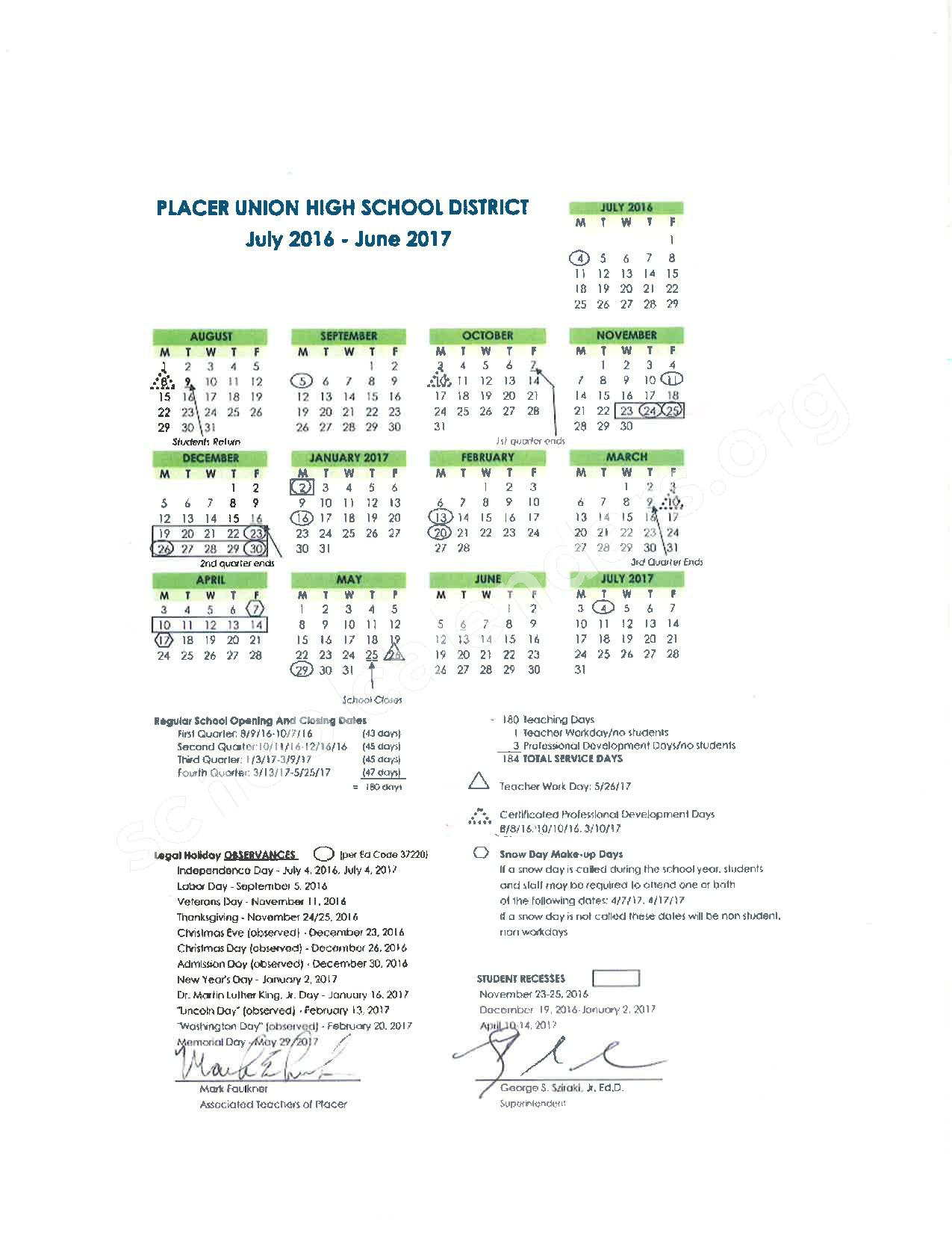 2016 - 2017 School Calendar – Placer County Office of Education – page 13