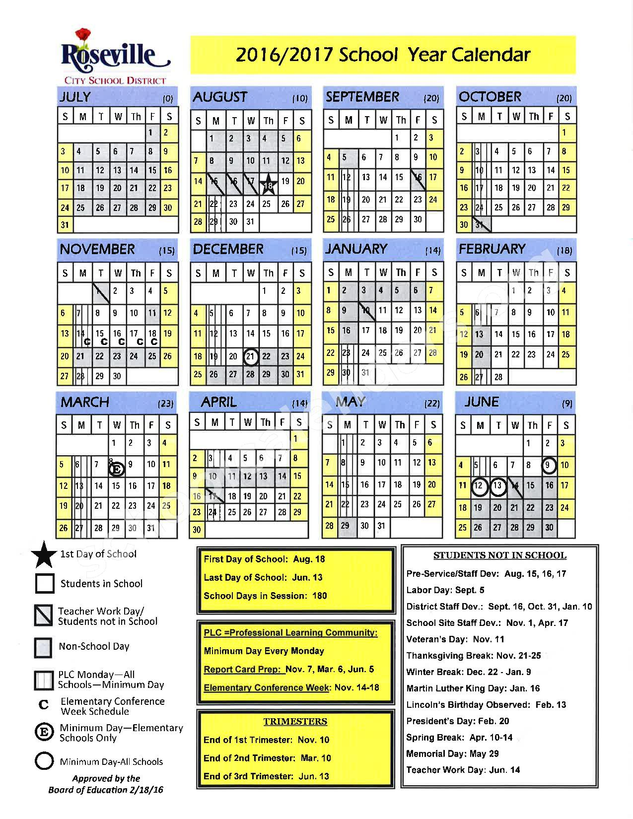 2016 - 2017 School Calendar – Placer County Office of Education – page 15