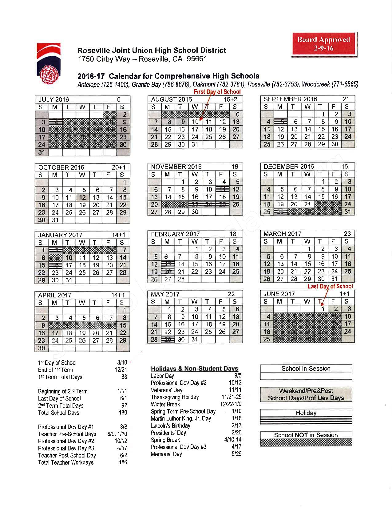 2016 - 2017 School Calendar – Placer County Office of Education – page 17