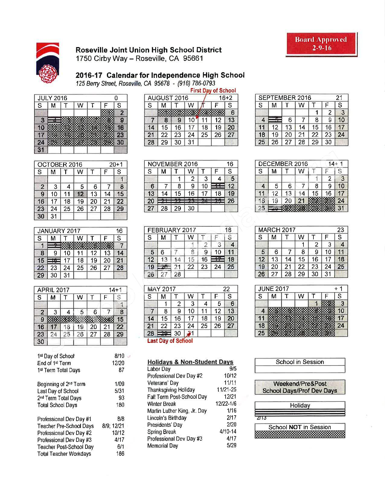 2016 - 2017 School Calendar – Placer County Office of Education – page 18