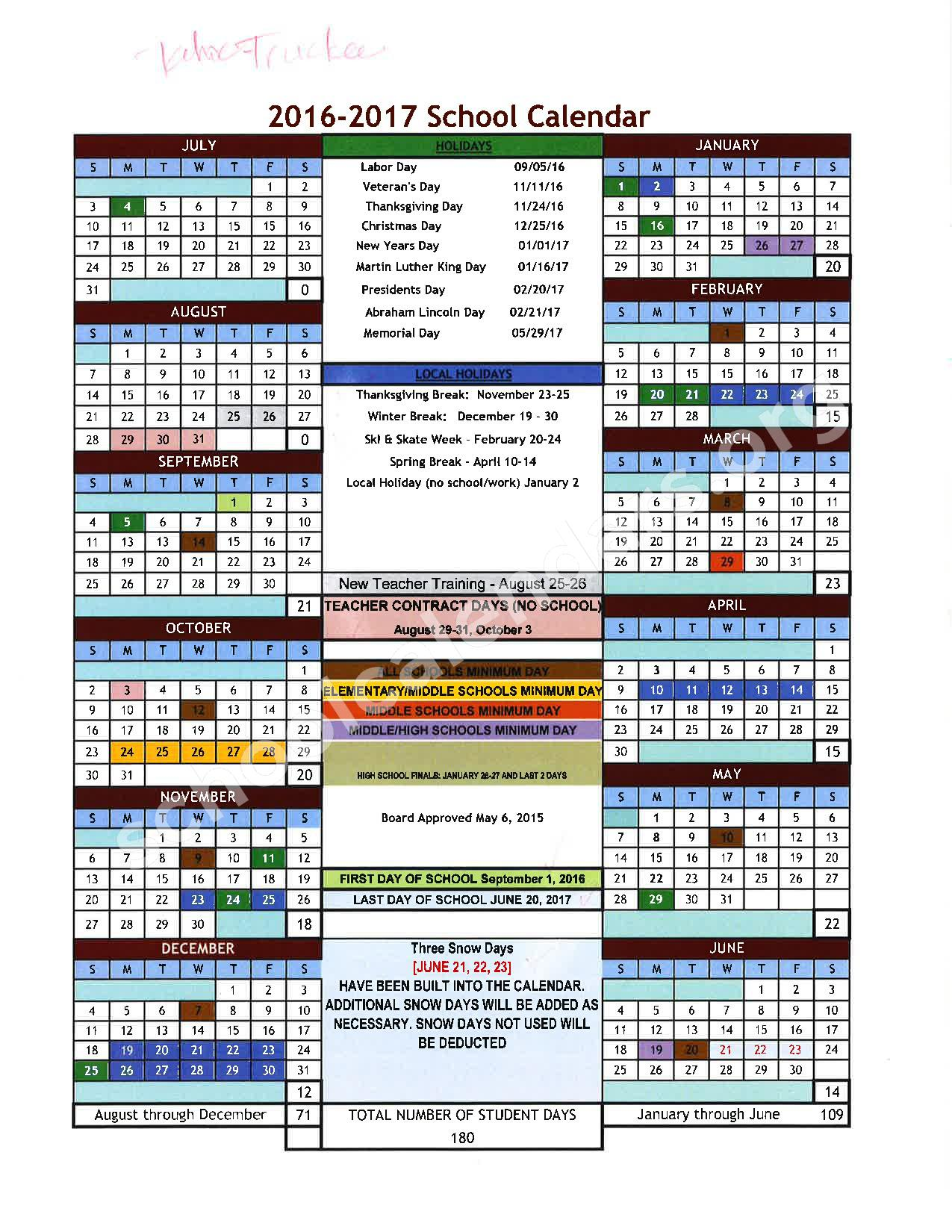 2016 - 2017 School Calendar – Placer County Office of Education – page 19