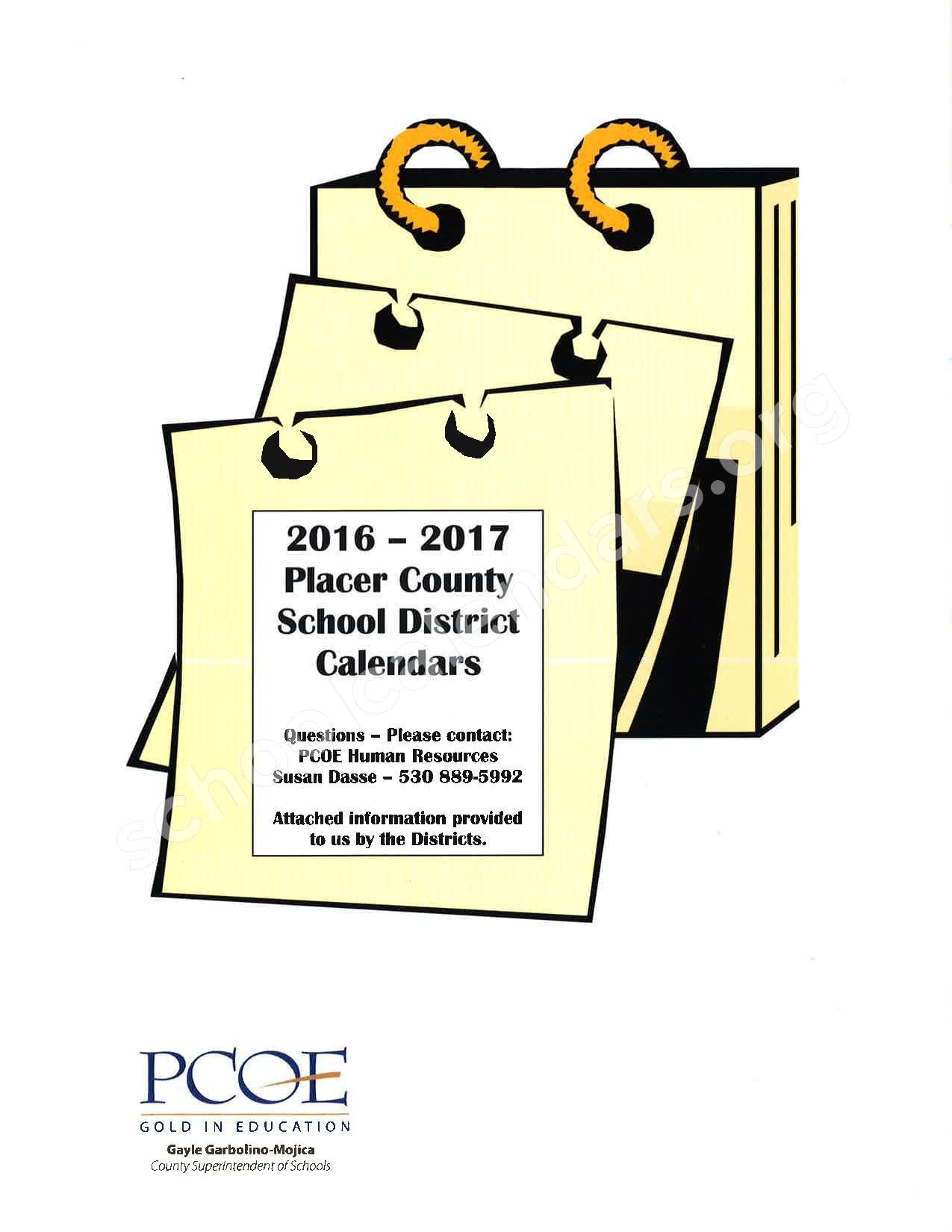 2016 - 2017 School Calendar – Placer County Office of Education – page 2