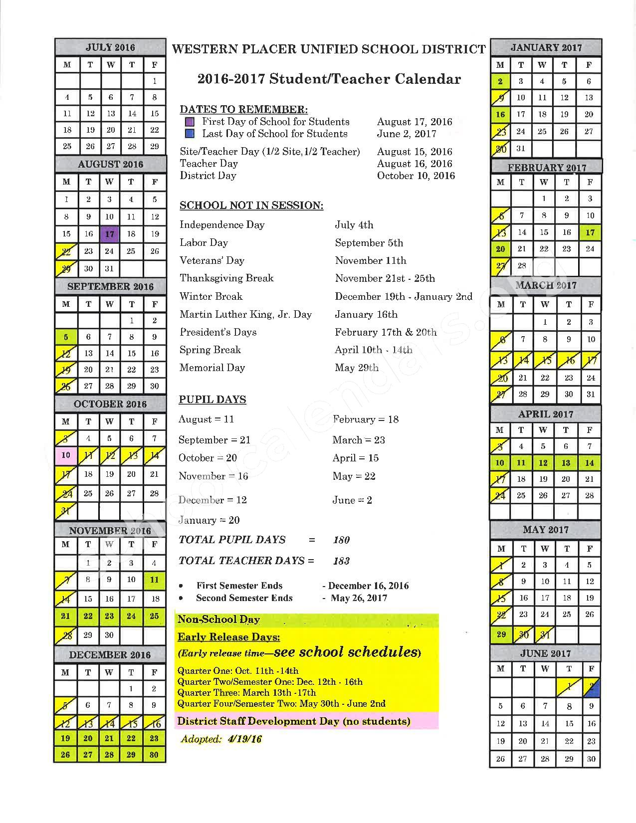 2016 - 2017 School Calendar – Placer County Office of Education – page 20