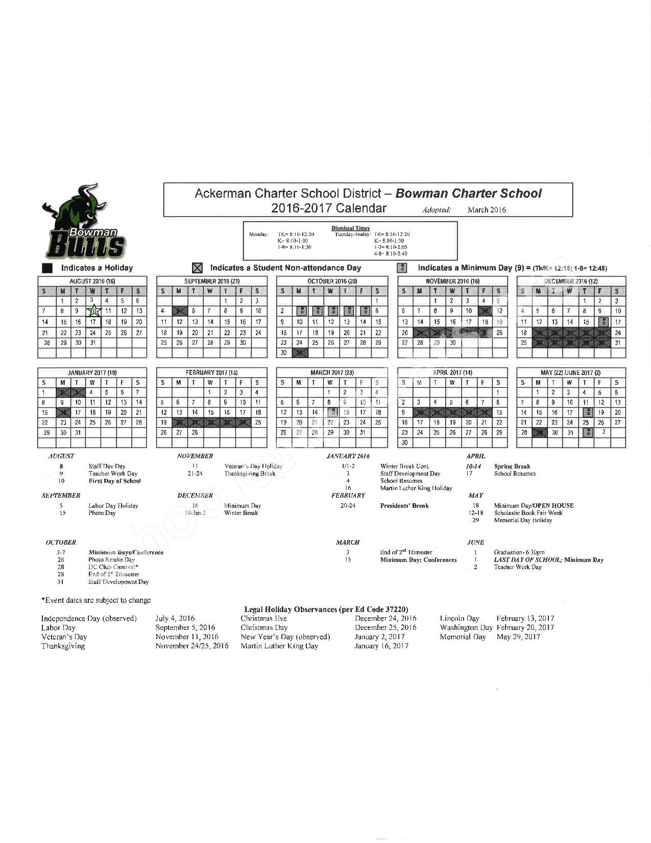 2016 - 2017 School Calendar – Placer County Office of Education – page 3