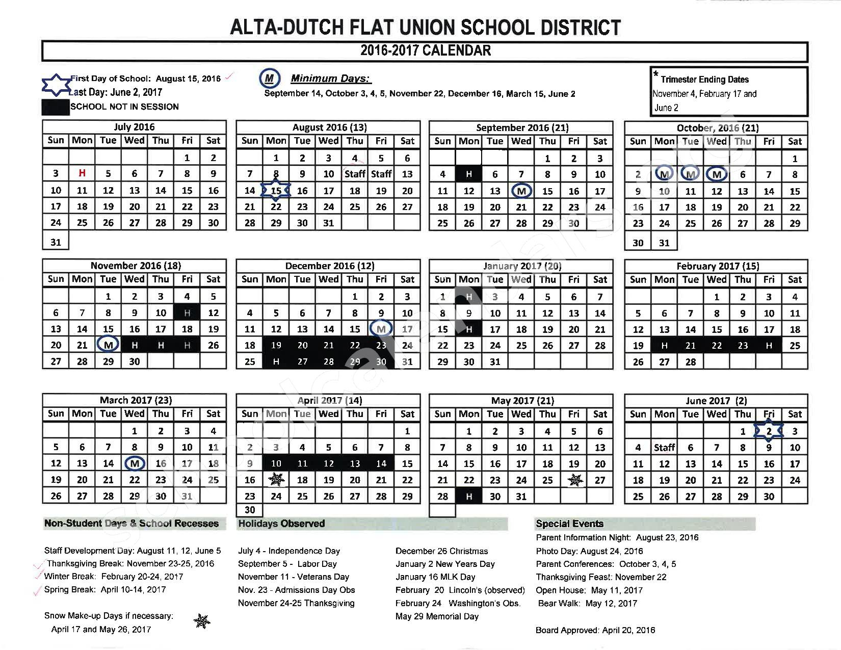 2016 - 2017 School Calendar – Placer County Office of Education – page 4