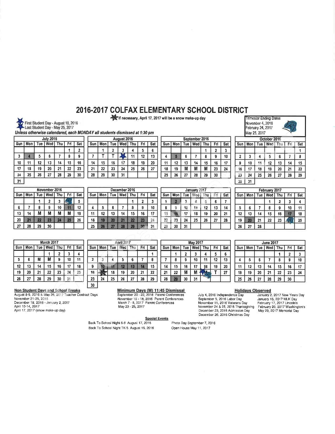 2016 - 2017 School Calendar – Placer County Office of Education – page 6