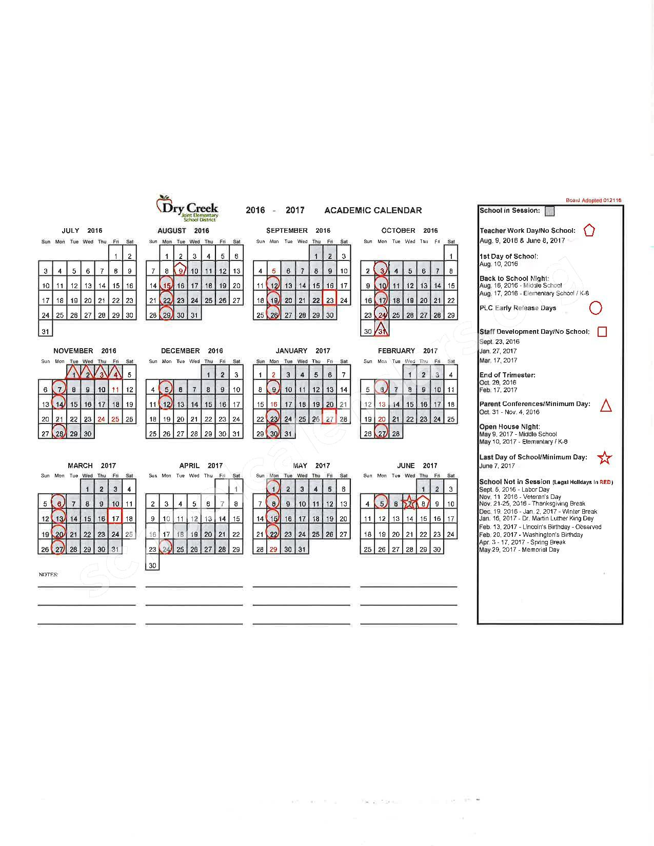 2016 - 2017 School Calendar – Placer County Office of Education – page 7