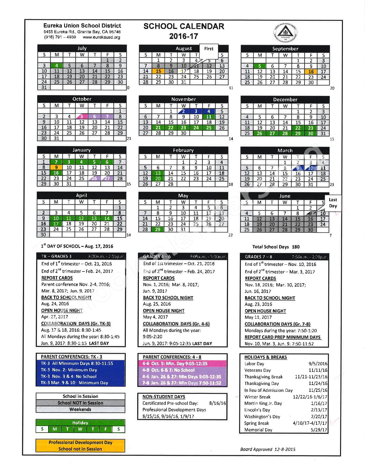 2016 - 2017 School Calendar – Placer County Office of Education – page 8