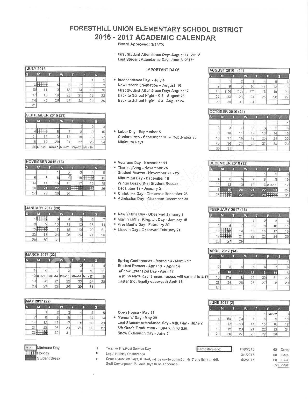 2016 - 2017 School Calendar – Placer County Office of Education – page 9