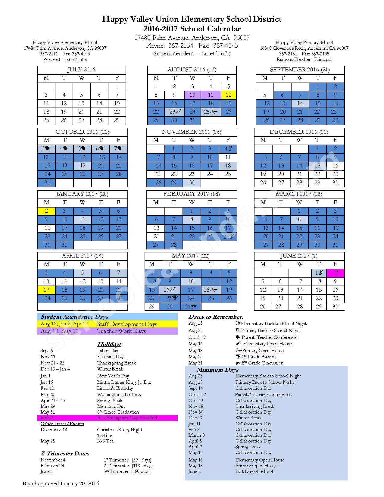 2016 - 2017 District Calendar – Happy Valley Union Elementary School District – page 1