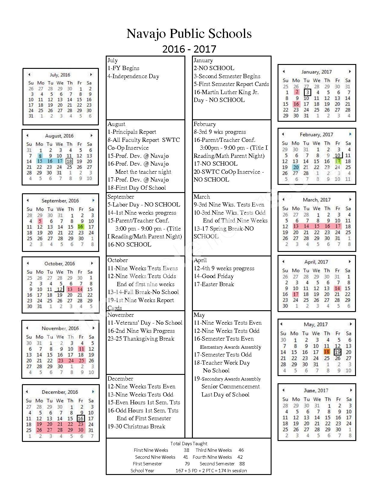 2016 - 2017 School Calendar – Navajo Elementary School – page 1
