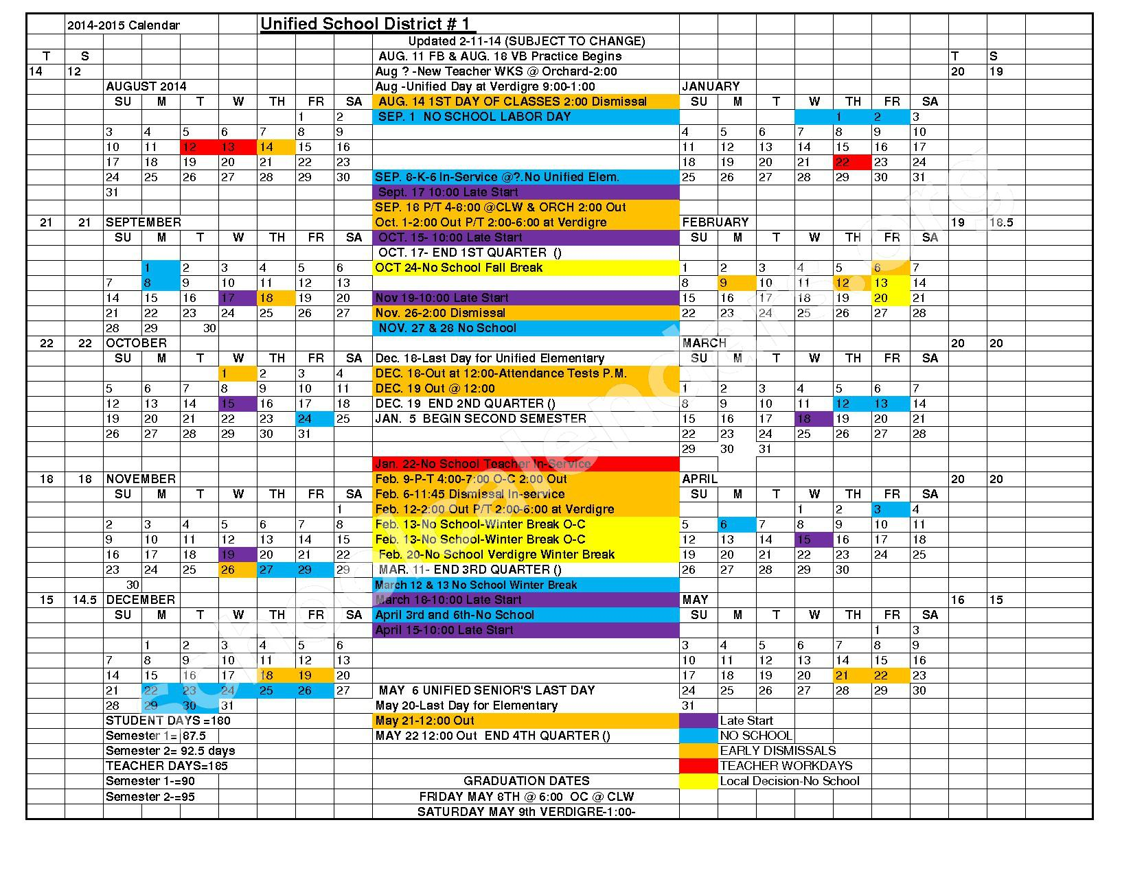 2014 - 2015 District Calendar – Nebraska Unified School District 1 – page 1