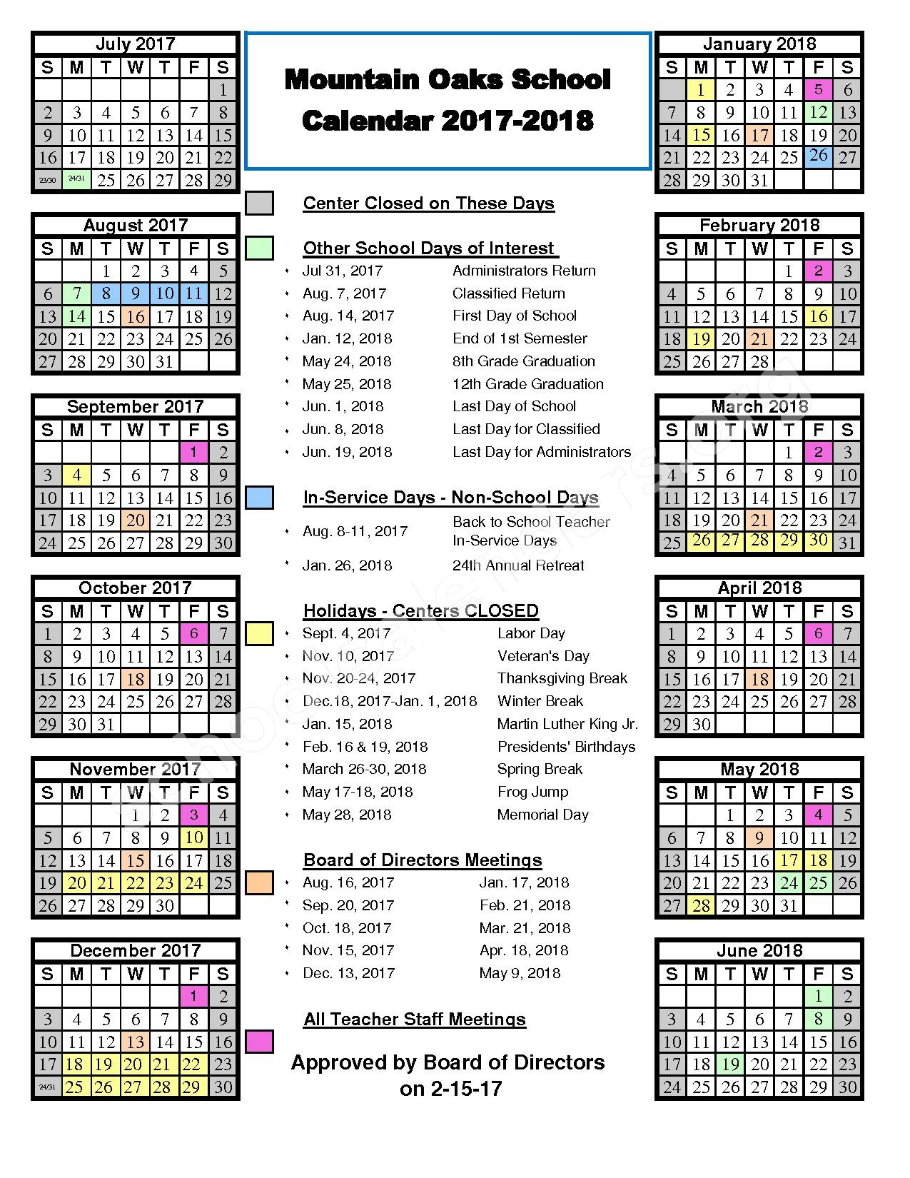 2017 - 2018 School Calendar – Calaveras County Office of Education – page 1