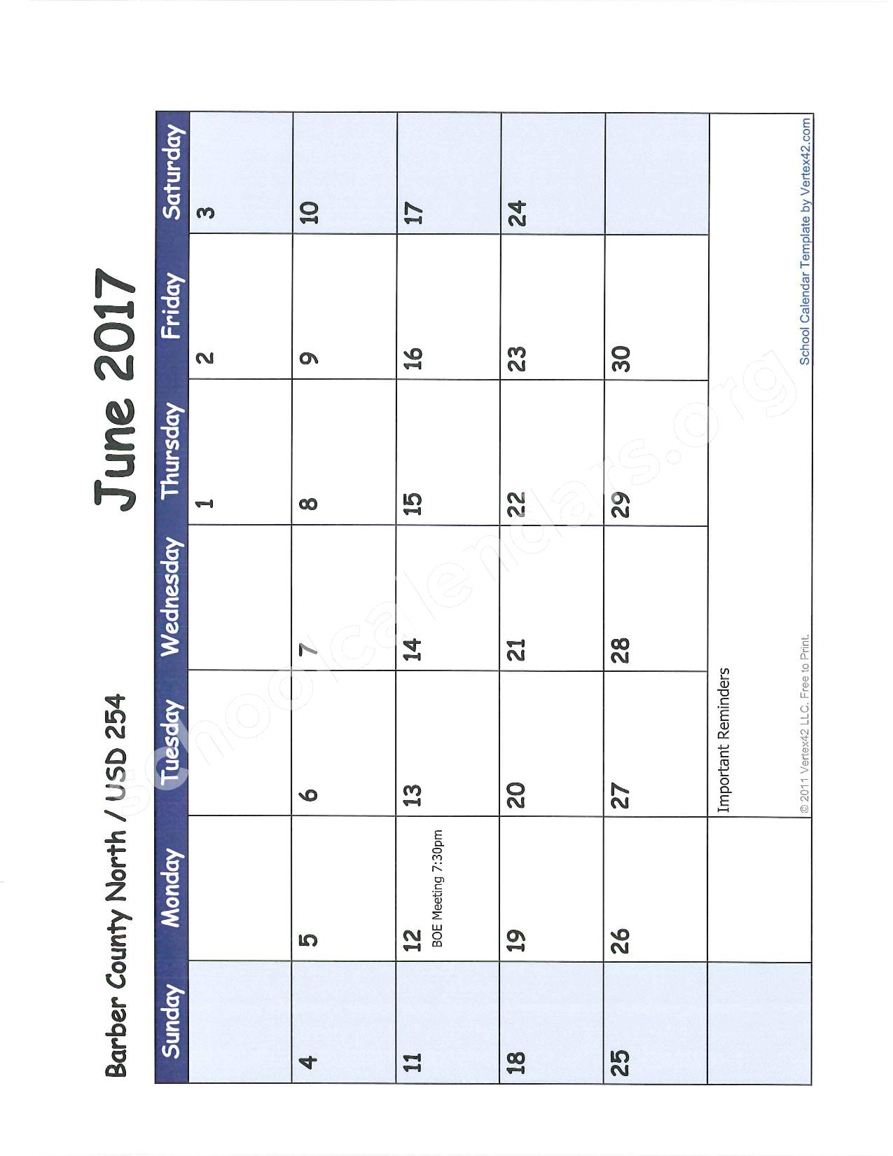 2016 -2017 School Calendar – Barber County North Unified School District 254 – page 11