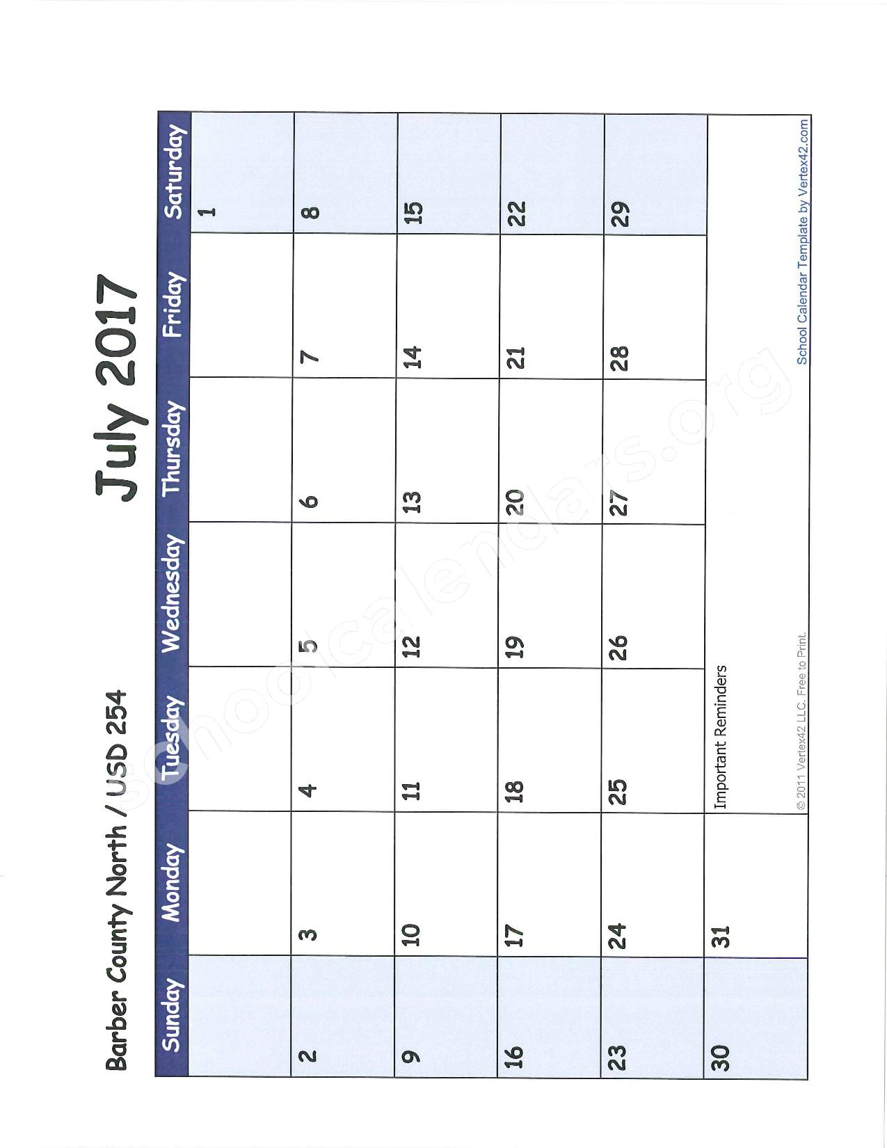 2016 -2017 School Calendar – Barber County North Unified School District 254 – page 12