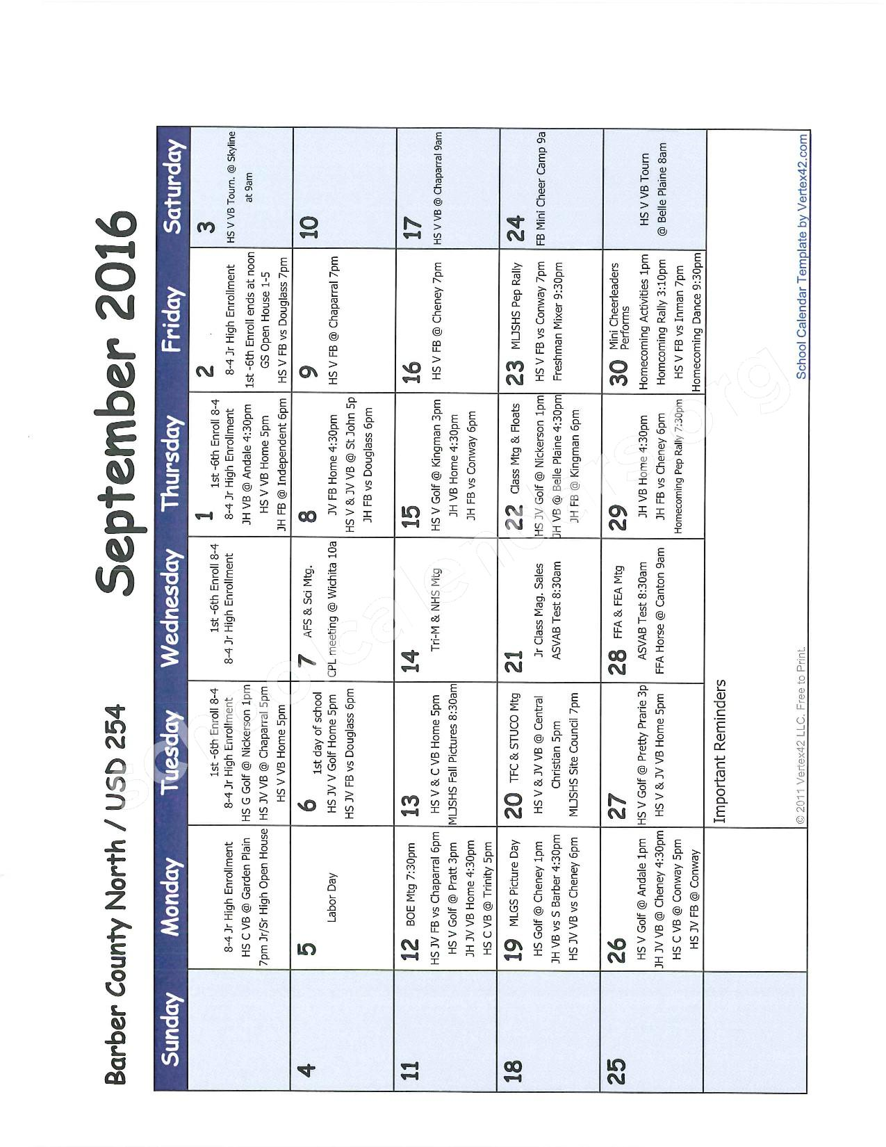 2016 -2017 School Calendar – Barber County North Unified School District 254 – page 2