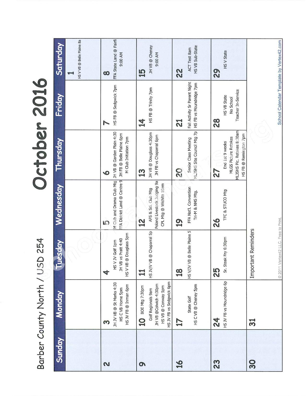 2016 -2017 School Calendar – Barber County North Unified School District 254 – page 3