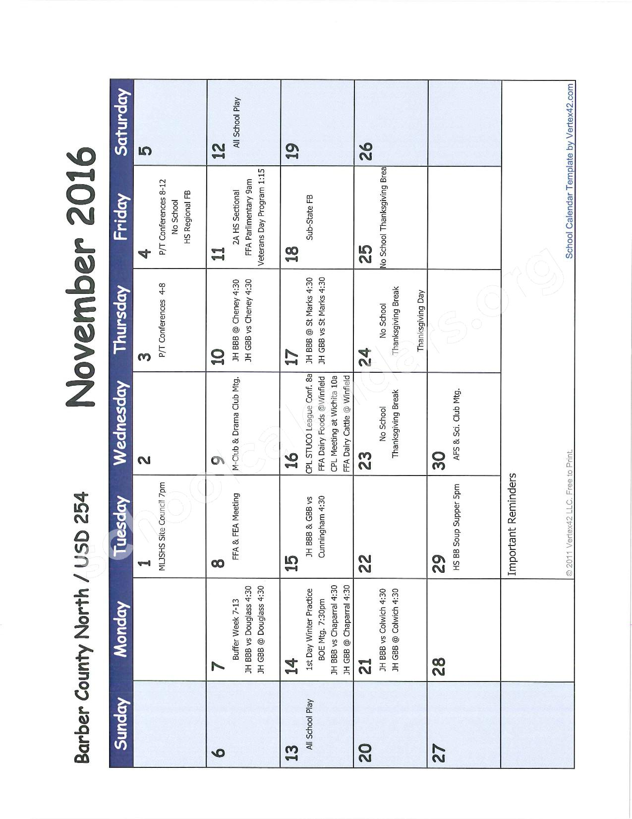 2016 -2017 School Calendar – Barber County North Unified School District 254 – page 4